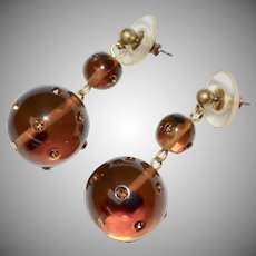 Large Brown Topaz Double Ball Rhinestone Bead Dangle Pierced Earrings