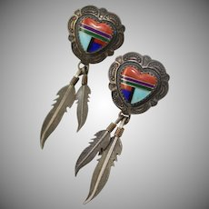 Signed Q.T. Southwest Style Sterling Silver Gemstone Inlay Heart & Feather Dangle Earrings