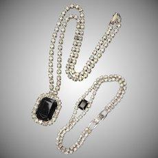 Larger Faceted Black Glass Rhinestone Pendant Necklace w/ Matching Bracelet