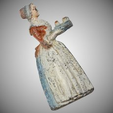 Baker's Chocolate Girl Painted Metal Advertising Figural Miniature Pencil Sharpener