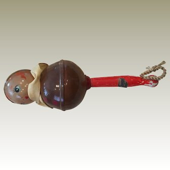 Early Celluloid Rattle with Doll Face