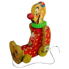 Fisher Price Squeaky The Clown Working Pull Toy 1958 Vintage collect toys