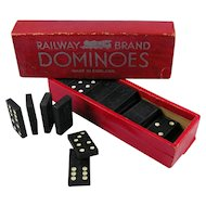 Railway Brand Vintage Dominoes Made in England Train Railroad Memorabilia
