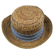 Salesman Sample Straw Hat For Vintage Boy/Man Doll