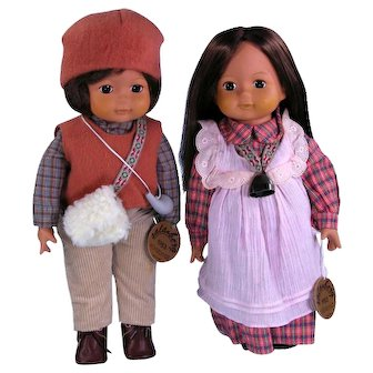 """Sekiguchi Made in Japan 14"""" Alphine Dolls Sala and Berg Limited Edition"""
