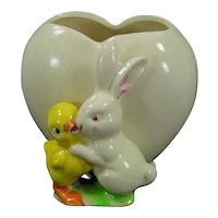 Vintage Planter Vase Made in Japan Bunny and Chick Easter