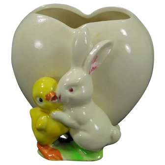 Vintage Planter/Vase Made in Japan Bunny and Chick