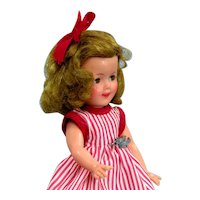 Shirley Temple 1950's Doll with Script Pin and Striped Dress 12""