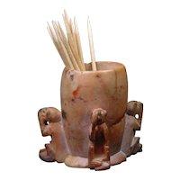 Chinese Soapstone Three Monkeys Vintage Toothpick Holder