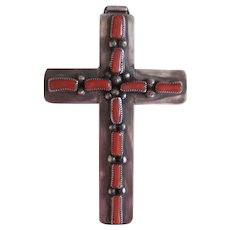 Navajo Coral Cross Pendant, Signed, Vintage from the 1980's