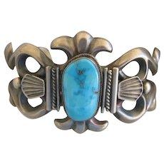 Navajo Cuff with Fox Turquoise Stone, Artist Harry Morgan, Multiple Award Winner Silversmith