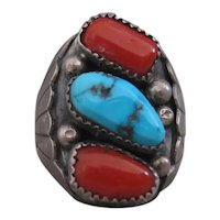 Vintage Navajo Men's Ring, Coral, Turquoise, Size 11