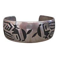 Vintage Hopi Cuff, Expert Overlay Technique, Symbolism Incorporated in Design