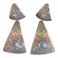 Mexican Sterling Silver Earrings, Vintage, Unusual Triangle Shape and Triangle Stamp Work