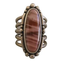 Native American Petrified Wood Ring, Unusual 5 pieces band