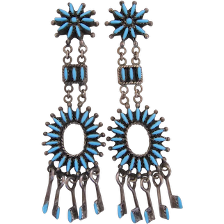 Zuni Earrings-Needlepoint Technique, Turquoise, Handmade, Creative Style