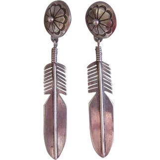 Native American Sterling Silver Earrings, Feather Design, Handmade