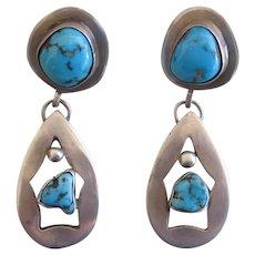 Vintage Navajo Earrings Turquoise Nuggets Handmade Tear Drop Shape