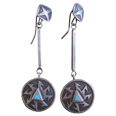 Native American Earrings, Unusual Style, Pinwheel Design