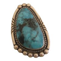 Navajo Turquoise Ring, Unusual Shape, Big Stone