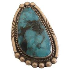 Navajo Turquoise Ring, Unusual Shape, Big Stone