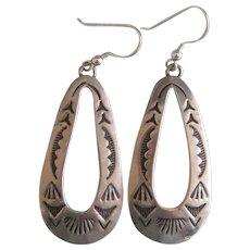 Sterling Silver Earrings, Vintage, Long Tear Drop Shape