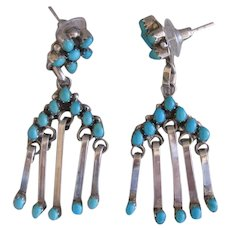 Native American Turquoise Earrings, Handmade, Perfect Turquoise Color