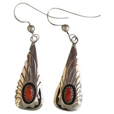 Navajo Earrings with Coral Stones