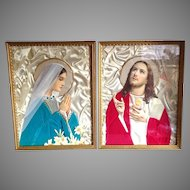 Vintage Collage Prints, Sacred Heart and Blessed Mother