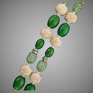 Plastic Bead, Metal Bead and Rhinestone Necklace