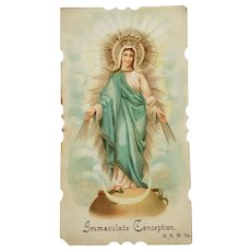 Holy Card of Mary, The Immaculate Conception