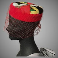 Pillbox Feathered Hat with Netting Veil