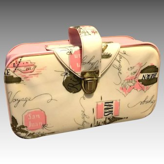 Bon Voyage 1960's Cosmetic Travel Bag