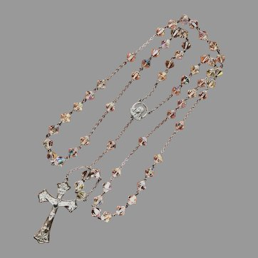 Vintage Crystal Bead and Sterling Silver Rosary
