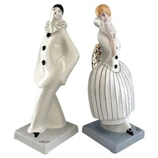 DAX French Art Deco Porcelain Pierrot and Columbine Clowns