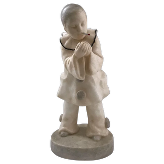 Goldscheider Pierrot with Cigarette Art Deco Alabaster