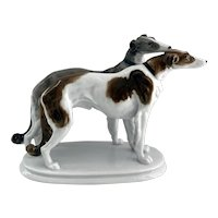 Borzoi Dogs Karl Ens Volkstedt Fine Porcelain Figurine