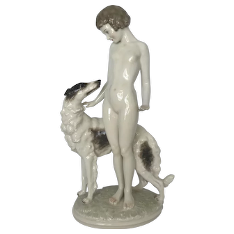 Hutschenreuther Nude with Borzoi Fine Porcelain