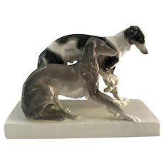 Austrian Goldscheider Borzoi Dogs Fine Porcelain