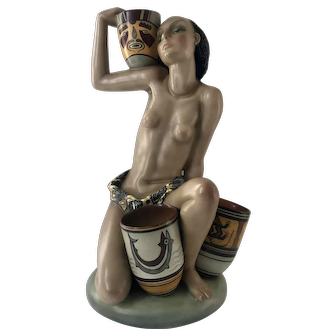 Lenci Porcelain Woman with Decorated Pots Fine Art Deco