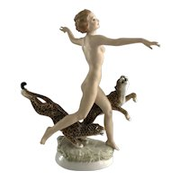 Hutschenreuther Girl with Leopards Fine Porcelain