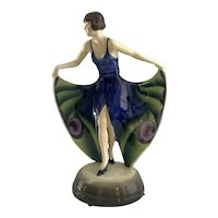 Goldscheider Dancer Peacock Dress Fine Porcelain Austria