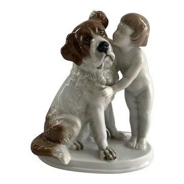 Rosenthal Child with St. Bernard Dog