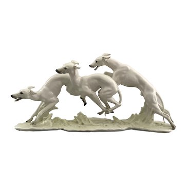 Hutschenreuther Whippets Figurine Coursing Dogs Fine Porcelain