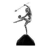 Art Deco Nude Silver Bronze Sculpture Artist A. Gilbert