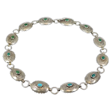 Southwest Older Sterling Silver Turquoise Concho Necklace