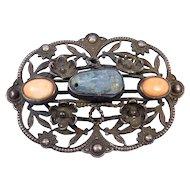 Ornate Antique Tourmaline Coral Silver Filigree Brooch