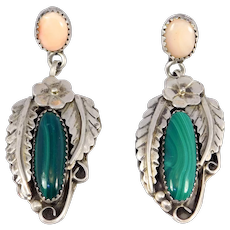 Southwest Pink Coral And Malachite Drop Earrings