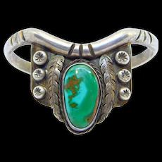 Vintage Turquoise Silver Southwest Cuff Bracelet