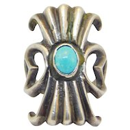 Unique Old Sterling Sandcast Turquoise Ring Southwest
